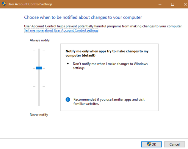 windows uac settings