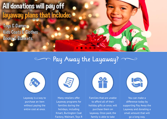 Christmas Charities Online Donate -- Pay Away the Layaway