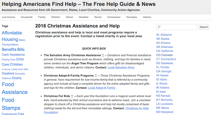 Christmas Charities -- Helping Americans Find Help
