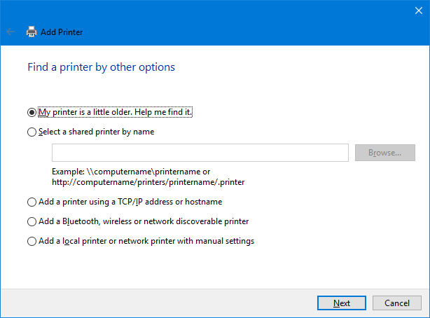 find a printer by other options