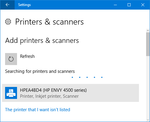 finding printer windows 10