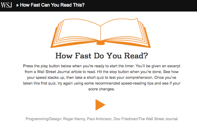 Online Tests -- Reading Speed