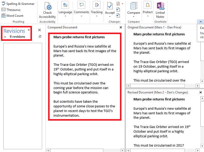 microsoft word compare docs final