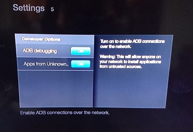 Kodi on Fire TV Stick -- Settings Unknown Sources