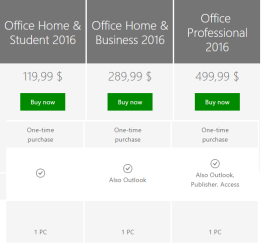 office 2016 price