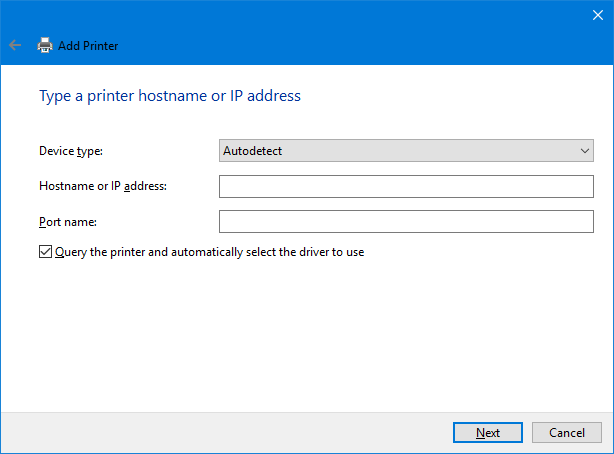 printer ip address