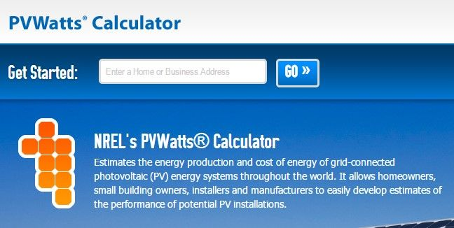 pvwatts solar calculator
