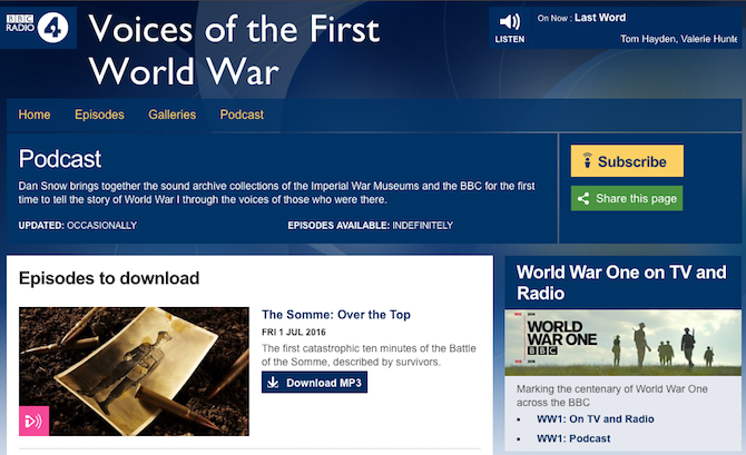 Military War Stories -- Voices of the First World War