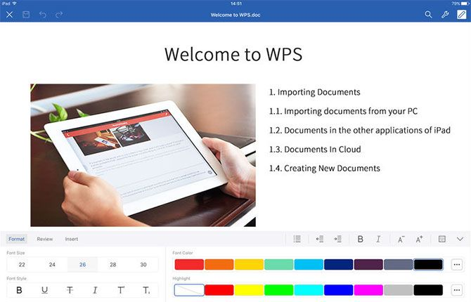 the package includes four tools memo document spreadsheet and presentation document includes support for doc docx and wpt or