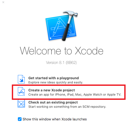 xcode create project