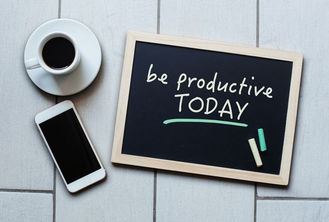 Be Productive Motivational Message on Chalkboard