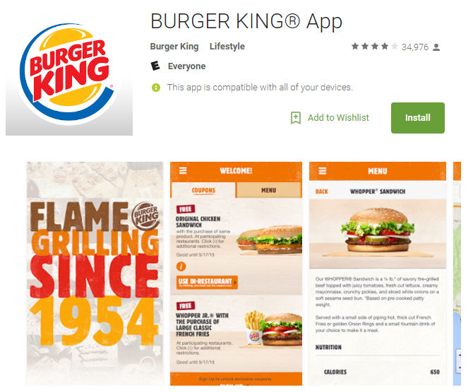 burger king android