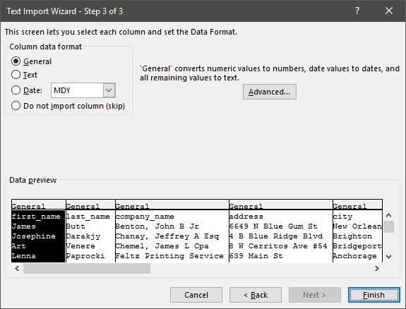Excel - Text Import Wizard