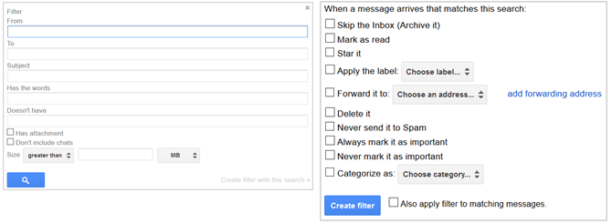 gmail settings create filter