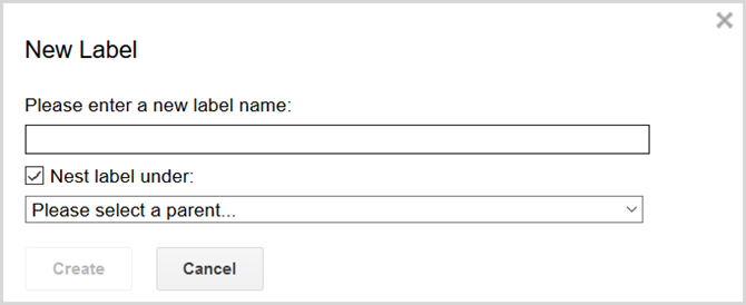 gmail settings create label