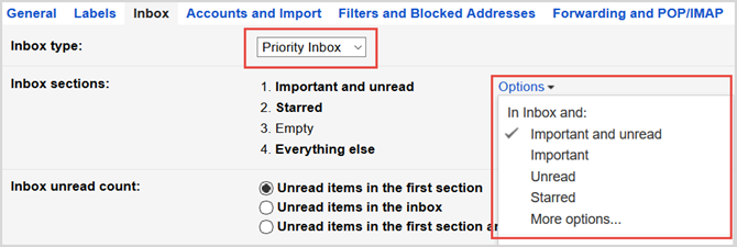 gmail settings priority inbox