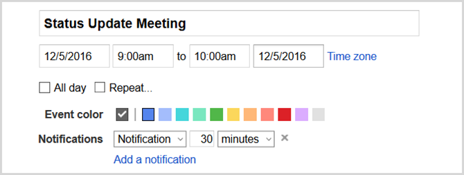 google calendar set event web