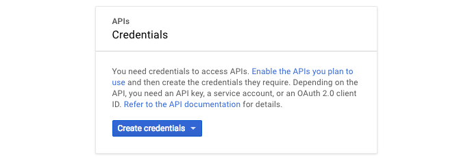 google api create credentials