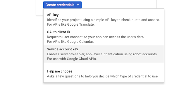 google api service account