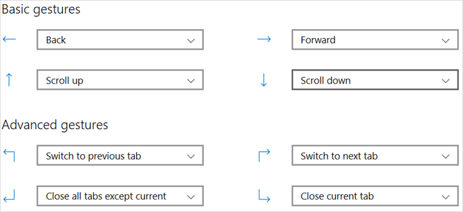 mouse gestures settings microsoft edge