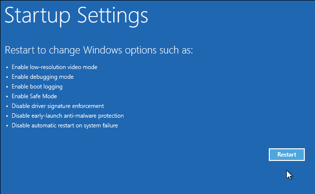 windows 10 advanced boot options startup settings