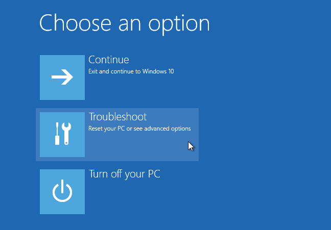 windows 10 advanced boot options troubleshoot