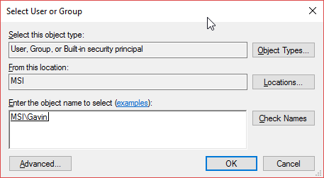 windows 10 select user or group permissions