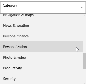 windows 10 store personalization category