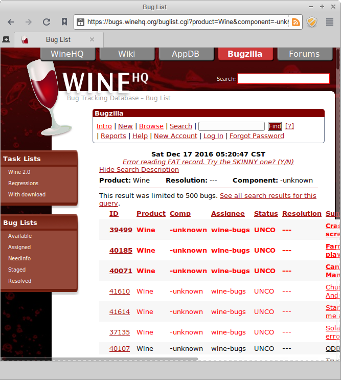 wine bug tracker