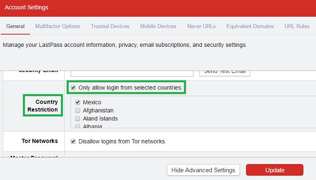 lastpass country restriction