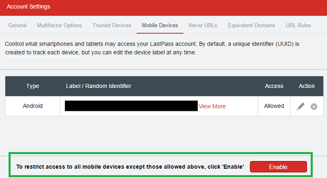 lastpass mobile devices