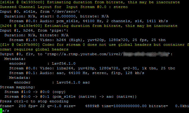 youtube streaming output