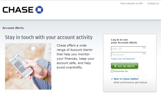 sign up account alert