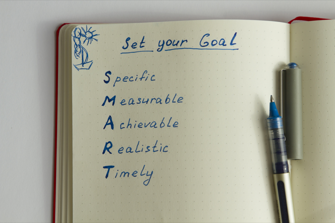 smart goals in notebook