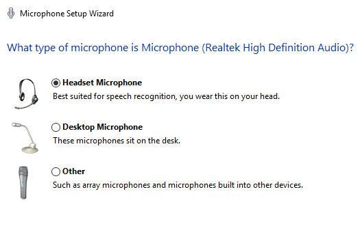 windows 10 speech recognition set up microphone