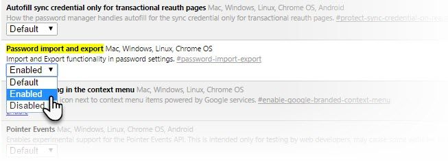 Chrome Import Export Flag