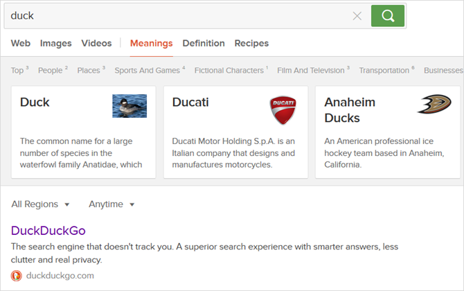 7 Google Search Alternatives and Their Trademark Features DuckDuckGo results web