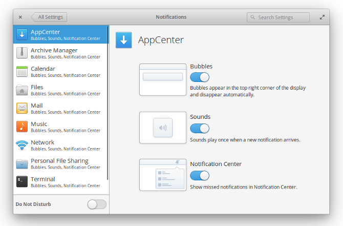 elementaryos loki notification settings
