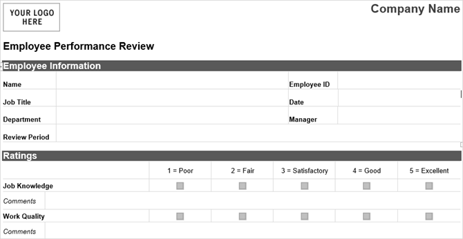 10 Free Business Form Templates You Should Keep Handy EmployeeReview  Tidyforms