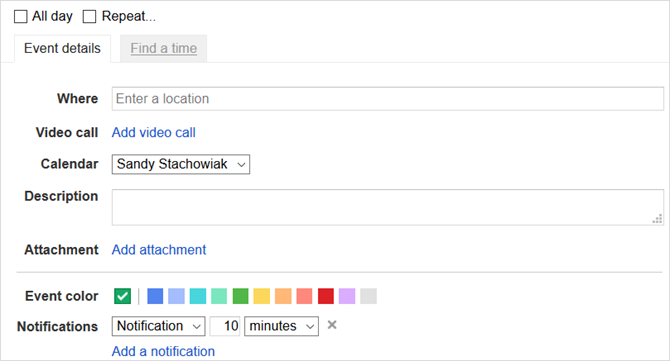 features google calendar web