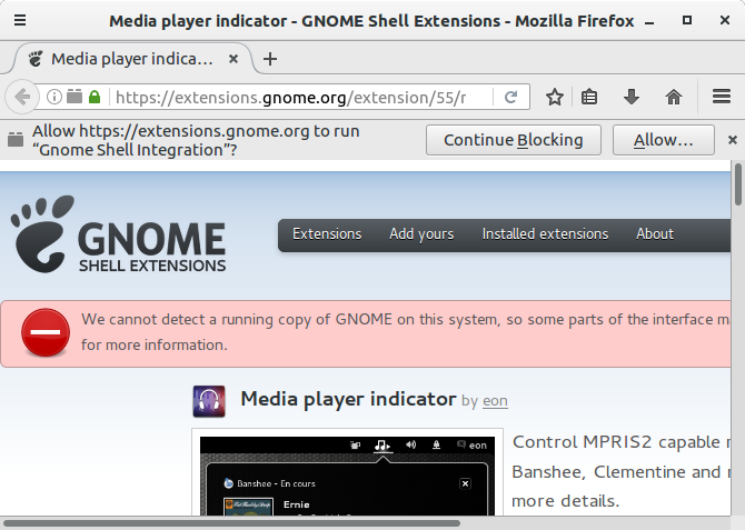 Gnome Shell Integration warning
