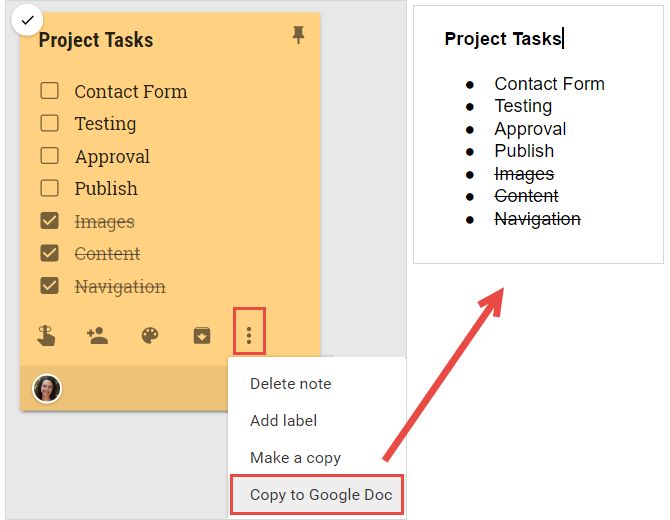 How to Use Google Keep for Simple Project Management GoogleKeepCopyToDocs web