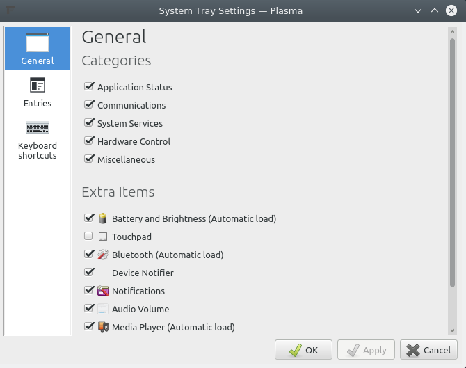 System tray settings in Plasma