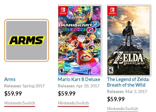 Nintendo Switch Game Prices