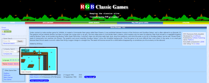 4 Sites Where You Can Download Old PC Games For Free RGB Classic Games Keen Dreams