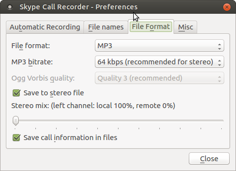 Skype Call Recorder Linux Settings