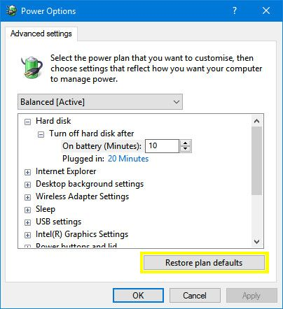 Restore plan defaults