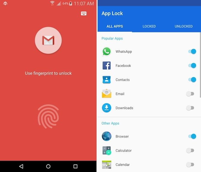 android fingerprint apps app lock