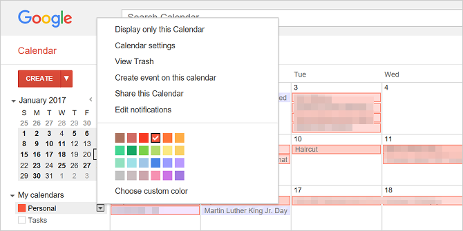 change default google calendar color