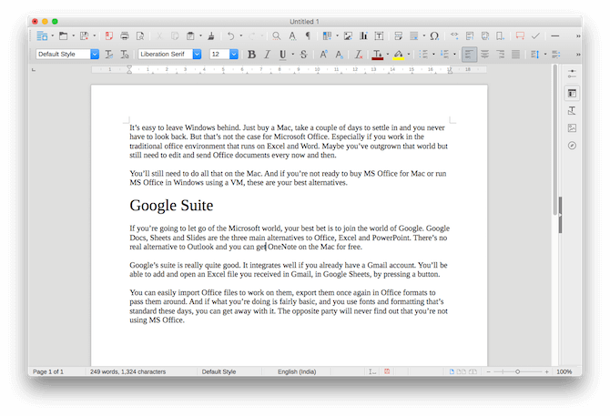 mac office alternatives libreoffice writer